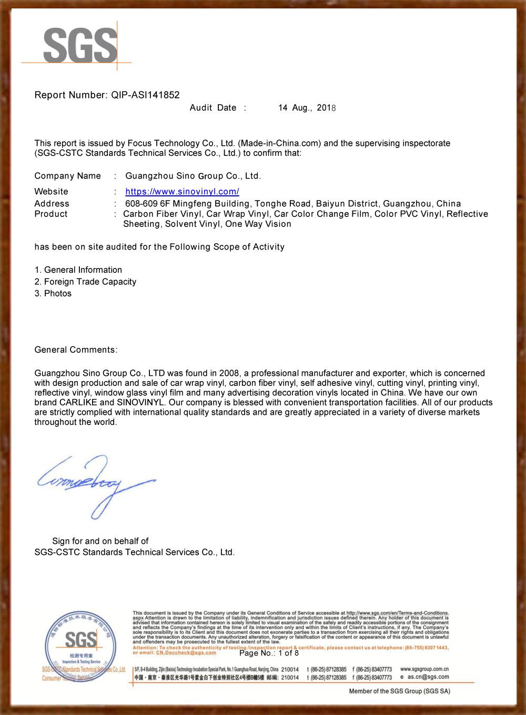 SINO GROUP Certificazione SGS